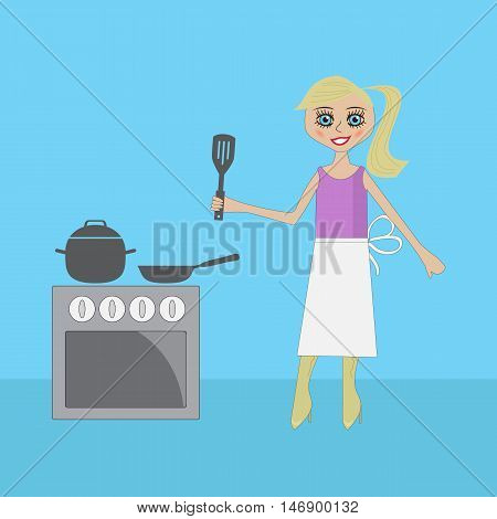 blonde girl is preparing a meal near the plate