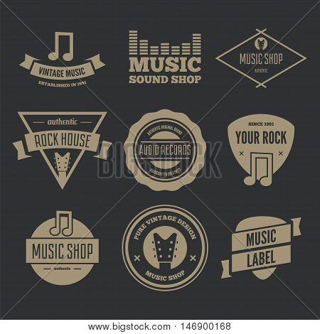 Collection of vector logotypes elements, icons, symbols, labels, badges and silhouettes for music shop