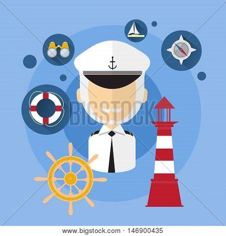Sailor Man Captain Ship Crew Icon Flat Vector Illustration