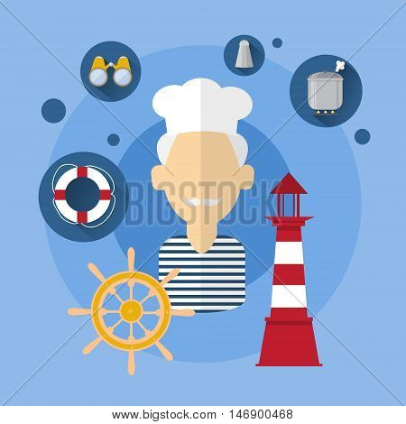 Sailor Man Cook Ship Crew Icon Flat Vector Illustration