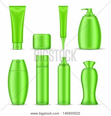 Cosmetics package icon set green color realistic tubes for creams shampoos emulsions vector illustration