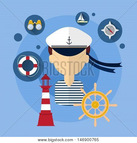 Sailor Man Ship Crew Icon Flat Vector Illustration