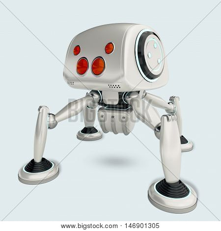 white robot spider with four red eyes. Cute robotic toy with blue neon elements. Futuristic cyborg concept. 3D rendering