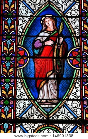 Bosc Bordel France - june 23 2016 : stained glass window in the Saint Jean Baptiste church
