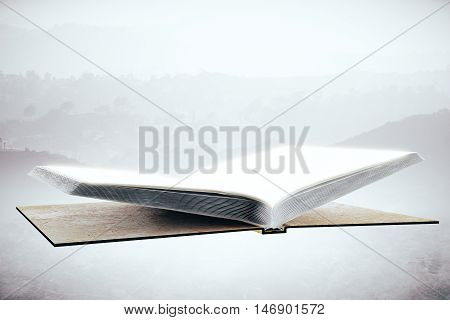 Empty open hardcover book on abstract background. Education concept. Mock up 3D Rendering