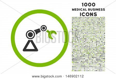 Artificial Manipulator rounded glyph bicolor icon with 1000 medical business icons. Set style is flat pictograms, eco green and gray colors, white background.
