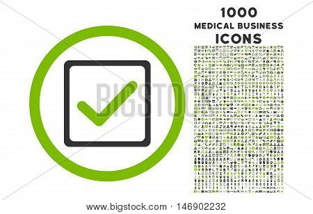 Checkbox rounded glyph bicolor icon with 1000 medical business icons. Set style is flat pictograms, eco green and gray colors, white background.