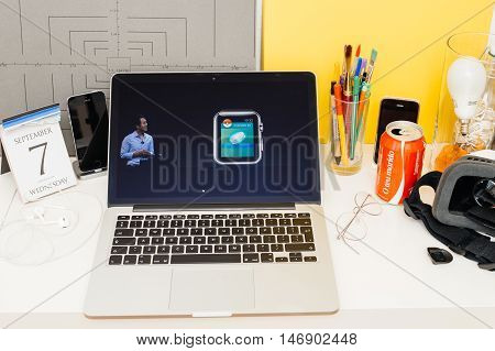PARIS FRANCE - SEP 8 2016: Apple Computers website on MacBook Retina in room environment showcasing live coverage of Apple Keynote - John Hanke founder and CEO of Pokemon GO developers Niantic Labs