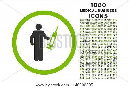 Drug Dealer rounded glyph bicolor icon with 1000 medical business icons. Set style is flat pictograms, eco green and gray colors, white background.