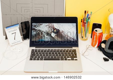 PARIS FRANCE - SEP 8 2016: Apple Computers website on MacBook Retina in room environment showcasing live coverage of Apple Keynote - Apple COO Jeff Williams on stage about waterproof Apple Watch series 2
