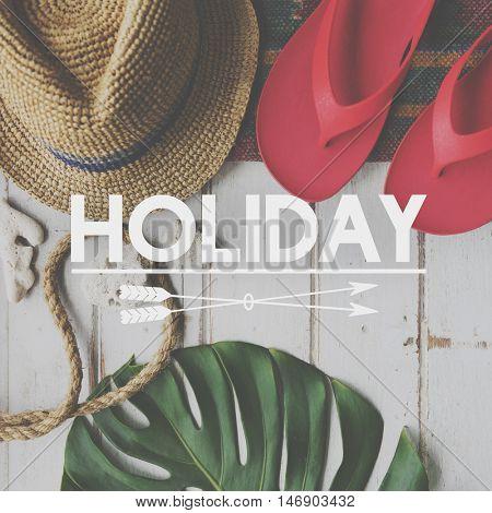 Summer Break Lifestyle Flipflop Vacation Words Concept