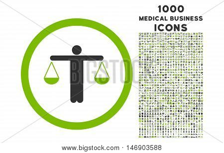 Lawyer rounded glyph bicolor icon with 1000 medical business icons. Set style is flat pictograms, eco green and gray colors, white background.