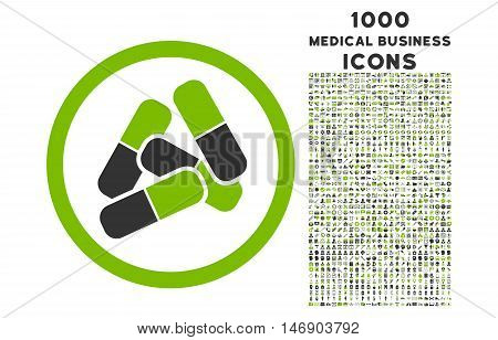 Pills rounded glyph bicolor icon with 1000 medical business icons. Set style is flat pictograms, eco green and gray colors, white background.