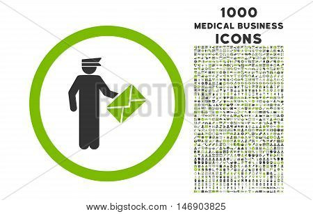 Postman rounded glyph bicolor icon with 1000 medical business icons. Set style is flat pictograms, eco green and gray colors, white background.