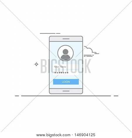 Concept interface design login screen on your mobile device. Register or Login to the application. User Icon. Illustration of a dark stroke performed in a linear style isolated on white background