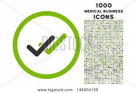 Validation rounded glyph bicolor icon with 1000 medical business icons. Set style is flat pictograms, eco green and gray colors, white background.