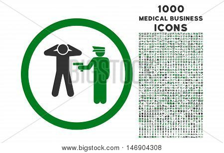 Arrest rounded glyph bicolor icon with 1000 medical business icons. Set style is flat pictograms, green and gray colors, white background.