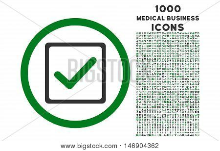Checkbox rounded glyph bicolor icon with 1000 medical business icons. Set style is flat pictograms, green and gray colors, white background.