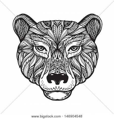 Bear. Ethnic patterns. Hand-drawn vector illustration with celtic elements. Head grizzly, animal symbol
