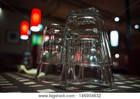 Closeup Photo Of Empty Glasses Stacked On Table