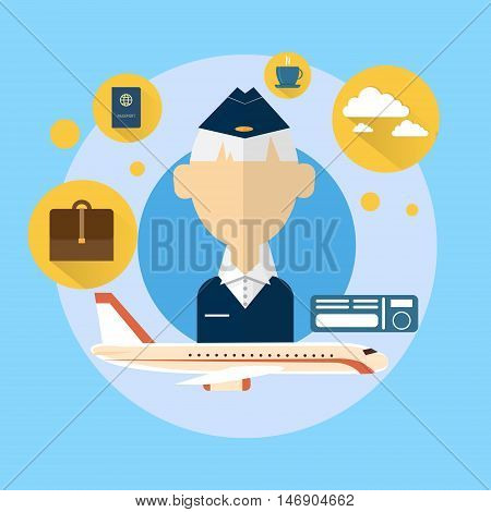 Senior Stewardess Airport Crew Icon Flat Vector Illustration