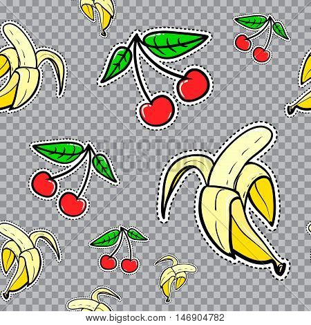 Vector seamless pattern with bananas and cherries. Hand drawn cute and fun fashion illustration sketch patches or stickers. Modern doodle pop art endless bananas cherry fruits design