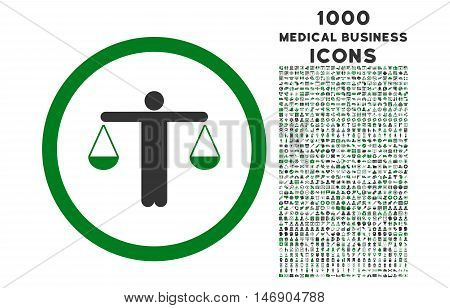 Lawyer rounded glyph bicolor icon with 1000 medical business icons. Set style is flat pictograms, green and gray colors, white background.