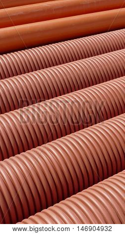 Heap Of Plastic Ribbed Tubes