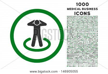 Prisoner rounded glyph bicolor icon with 1000 medical business icons. Set style is flat pictograms, green and gray colors, white background.