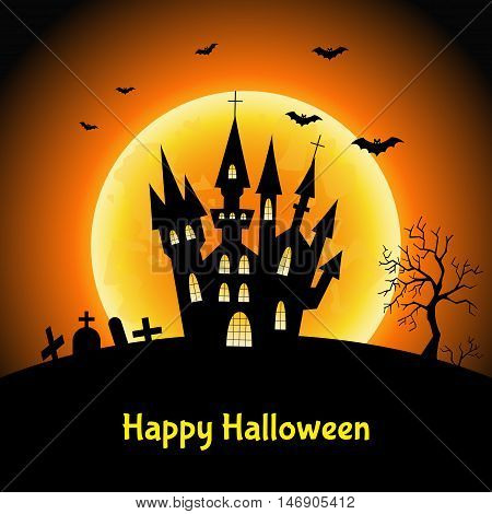 Happy Halloween card with castle and moon. Vector illustration for flyer or party invitation.