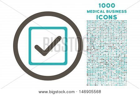 Checkbox rounded glyph bicolor icon with 1000 medical business icons. Set style is flat pictograms, grey and cyan colors, white background.