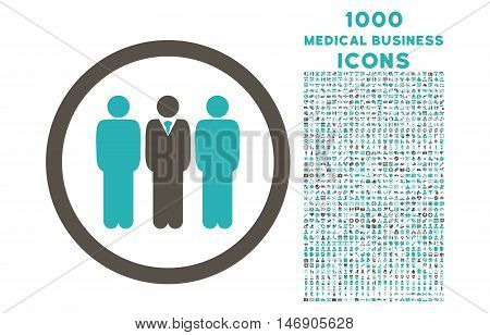 Clerk Staff rounded glyph bicolor icon with 1000 medical business icons. Set style is flat pictograms, grey and cyan colors, white background.