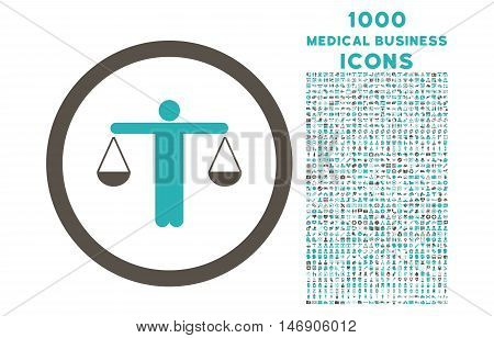 Lawyer rounded glyph bicolor icon with 1000 medical business icons. Set style is flat pictograms, grey and cyan colors, white background.