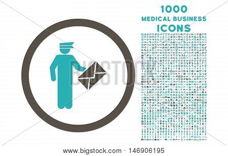 Postman rounded glyph bicolor icon with 1000 medical business icons. Set style is flat pictograms, grey and cyan colors, white background.