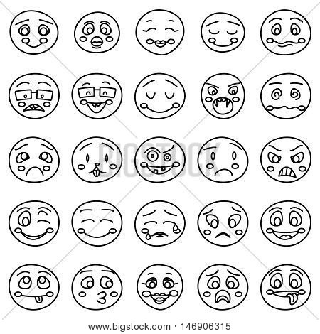 Hand drawing of emoticons or vector doodle emotional faces. Set of emoticon face and smiley faces illustration