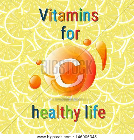 Vitamins C Healthy Life Concept Flat Vector Illustration