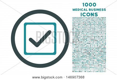 Checkbox rounded glyph bicolor icon with 1000 medical business icons. Set style is flat pictograms, soft blue colors, white background.