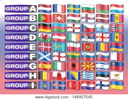 Flags of the European qualification group football