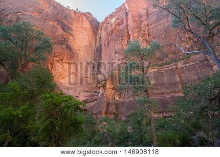 The Formation of Zion. Riverside Walk Trail, Zion National park, Utah, USA.