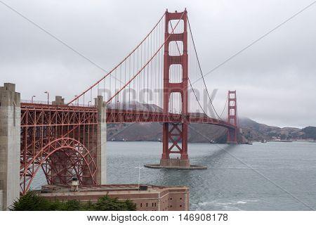 Golden Gate Bridge from the Welcome Center, San Francisco, California, USA