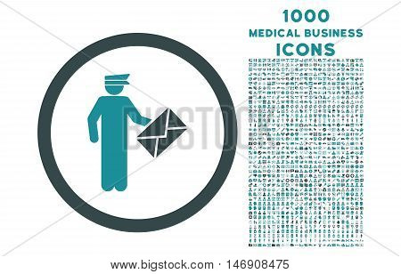 Postman rounded glyph bicolor icon with 1000 medical business icons. Set style is flat pictograms, soft blue colors, white background.