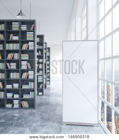 Concrete library interior with blank ad poster. Mock up 3D Rendering