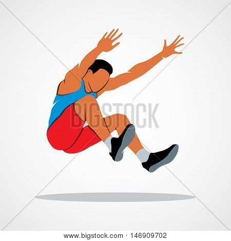 Long jump trajectory The athlete jumps. Branding Identity Corporate vector logo design template Isolated on a white background. Vector illustration.
