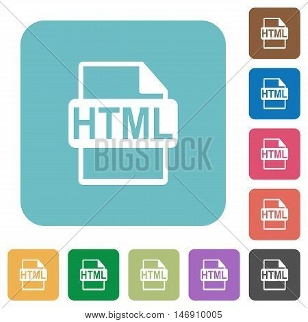 Flat HTML file format icons on rounded square color backgrounds.