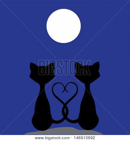 vector illustration of cats silhouettes in the moonlight