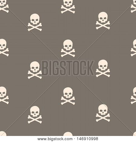 Vector Seamless Pattern With Skulls And Bones