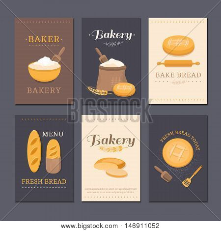 Collection of vector cards shop bakery with bread, flour, loaf, slice of bread.  Set of templates for business cards, cafe menu, banners, covers, coupons, labels, packaging. Illustration of pastries.
