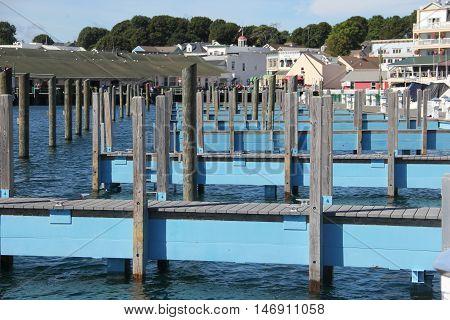 Mackinac Island harbor in Michigan. Mackinac Island is located in Straits of Mackinac