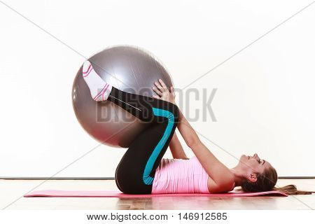 A Shot With Lady And Fit Ball.