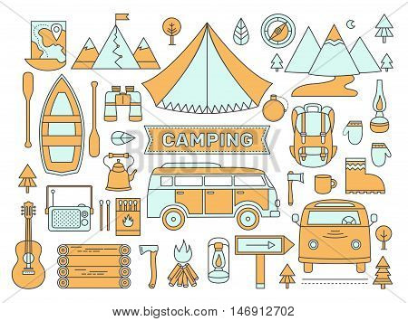 Line icons set of camping. Adventure outdoors collection elements: tent, minibus, boat, mountains, backpack, binoculars, compass, guitar, map and other. Activity and travel vector symbols.